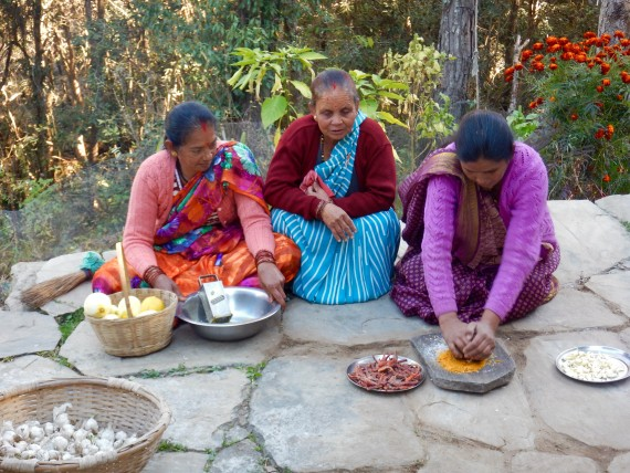 Ladies from the village of Machkali, Uttrakhand, cooking at Vrikshalaya centre. www.foundnature.org