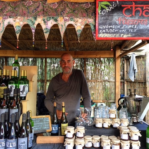 Aron selling at the Farmer's Market – from chai and chutney to wine, 2017.
